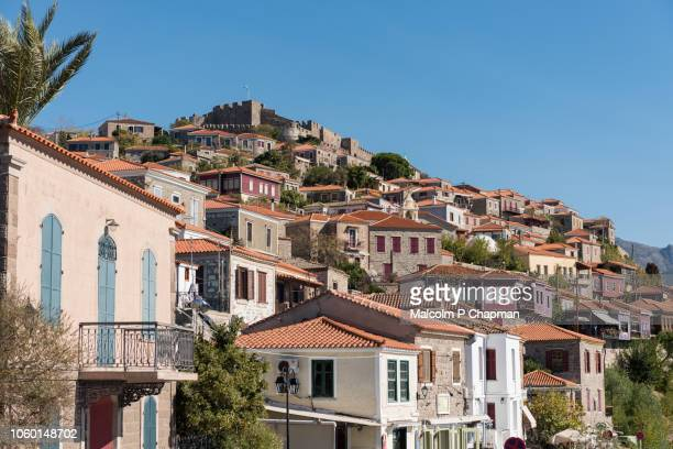 molyvos old town and castle, mithymna, mytilene, lesvos, greece. - mytilene stock photos and pictures
