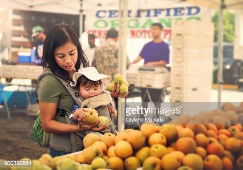 Mom And Baby At Farmer's Market