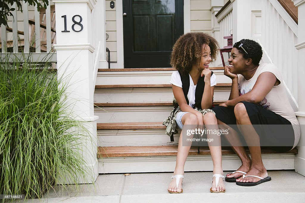 Mom and daughter laughing : Stock Photo