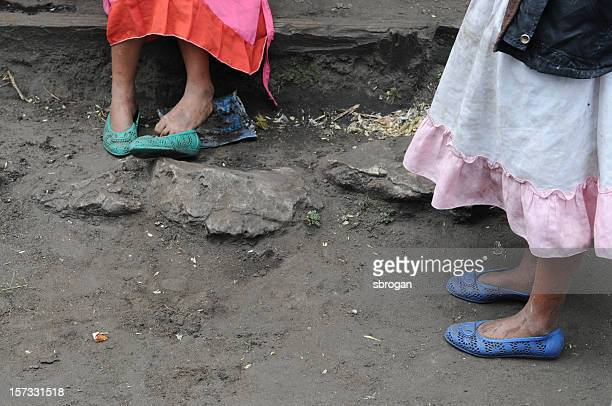 mom and daughter waiting - latin american civilizations stock photos and pictures