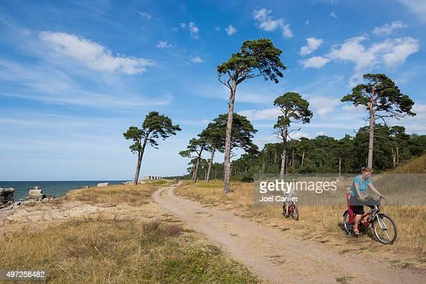 Mom and kids cycling in Karosta, Liepaja, Latvia