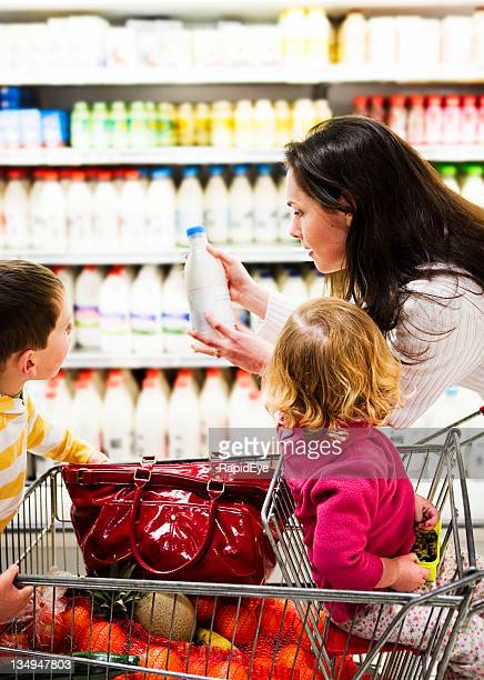 Mom and kids with milk