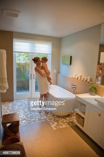 Mom And Small Naked Son About Tho Bathe Stock Photo -4682