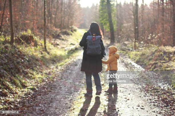 mom and son are walking in the woods - schwarzwald stock-fotos und bilder