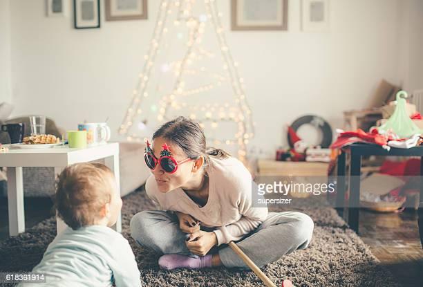 Mom and son celabrating Christmas