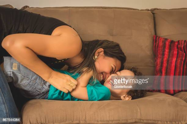mom and son - tickling stock pictures, royalty-free photos & images