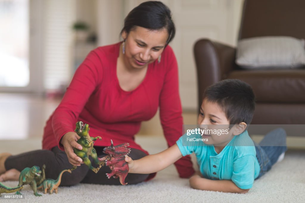 Mom and Son Playtime : Stock Photo