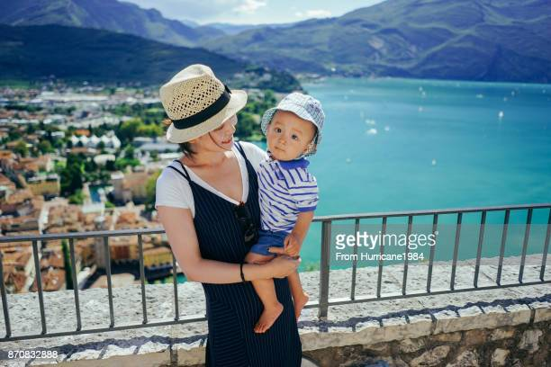 Mom and son with a beautiful Garda lake view