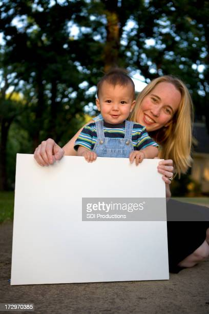 Mom and Son with Blank Sign