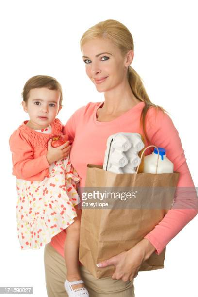 mom and toddler at supermarket