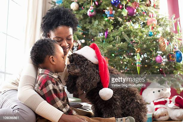 mom and toddler with dog wearing santa hat - pampered pets stock pictures, royalty-free photos & images