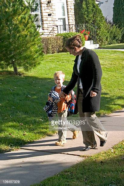 Mom asking son how his day at school went