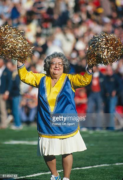 'Mom' cheerleader for the Los Angeles Rams on the sidelines during Super Bowl XIV against the Pittsburgh Steelers at the Rose Bowl on January 20 1980...
