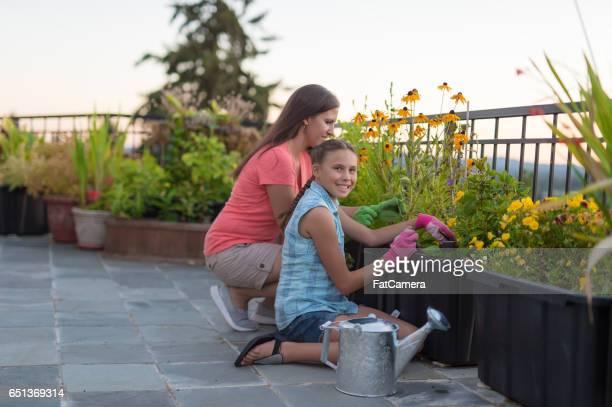 Jardiner avec la fille de maman