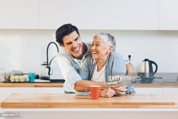 mom is the best! - mother and son stock photos and pictures