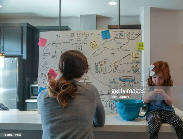 mom sketching a business plan on a large board in home office - family dollar stock pictures, royalty-free photos & images