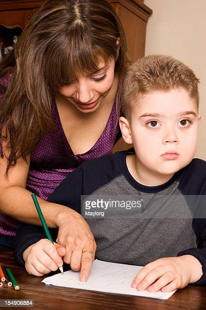 Mom trying to instruct autistic son