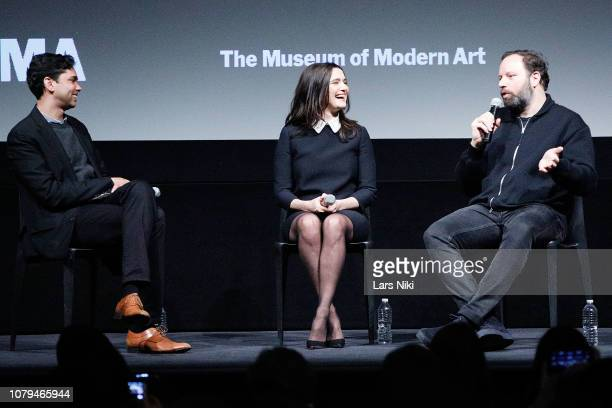 MoMA chief curator of film Rajendra Roy actor Rachel Weisz and director Yorgos Lanthimos on stage during MoMA's Contenders screening of The Favourite...