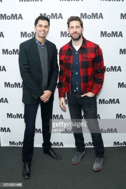 MoMA chief curator of film Rajendra Roy and writer director producer and actor John Krasinski attend MoMA's Contenders screening of 'A Quiet Place'...