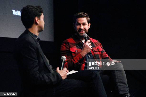 MoMA chief curator of film Rajendra Roy and writer, director, producer and actor John Krasinski speak on stage during MoMA's Contenders screening of...