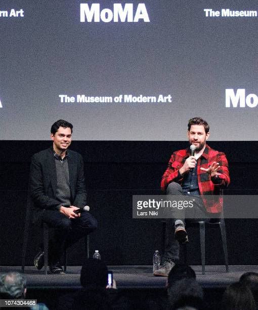 MoMA chief curator of film Rajendra Roy and writer director producer and actor John Krasinski on stage during MoMA's Contenders screening of 'A Quiet...