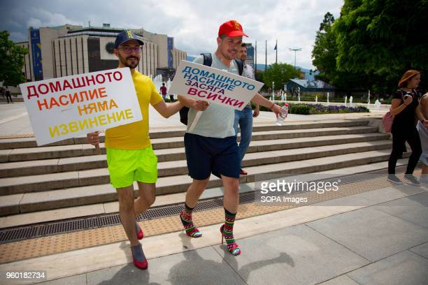Momchil Baev left and Luis Lomeli were among the participants in the 'Walk a Mile in Her Shoes' campaign held in the center of Sofia The event in...