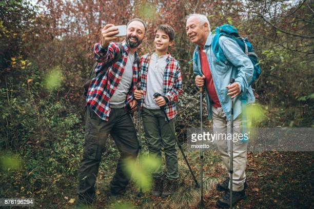 Moment for selfie in forest