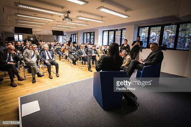 A moment of CNA Rome meeting The candidate for mayor of Rome the fivestar Movement Virginia Raggi meets entrepreneurs of CNA