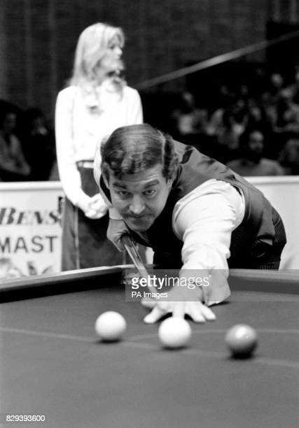 A moment of concentration for former Pot Black snooker champion Australia Eddie Charlton during the early stages of his quarter final against...