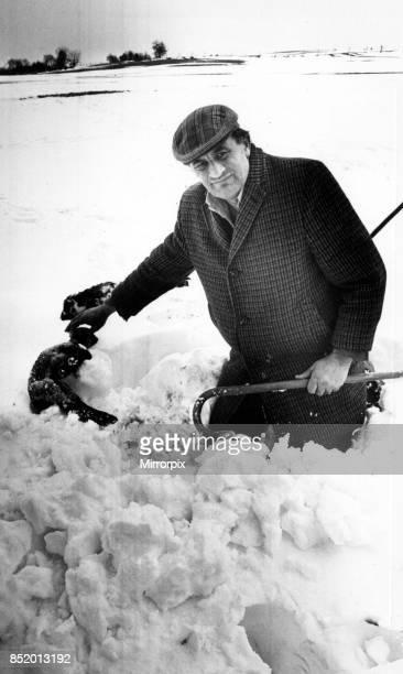 Moment of heartbreak for farmer Mr Richard Vaughan as he pulls a dead lamb from a deep snowdrift at Gora Farm near Llanidloes Until the thaw Mr...