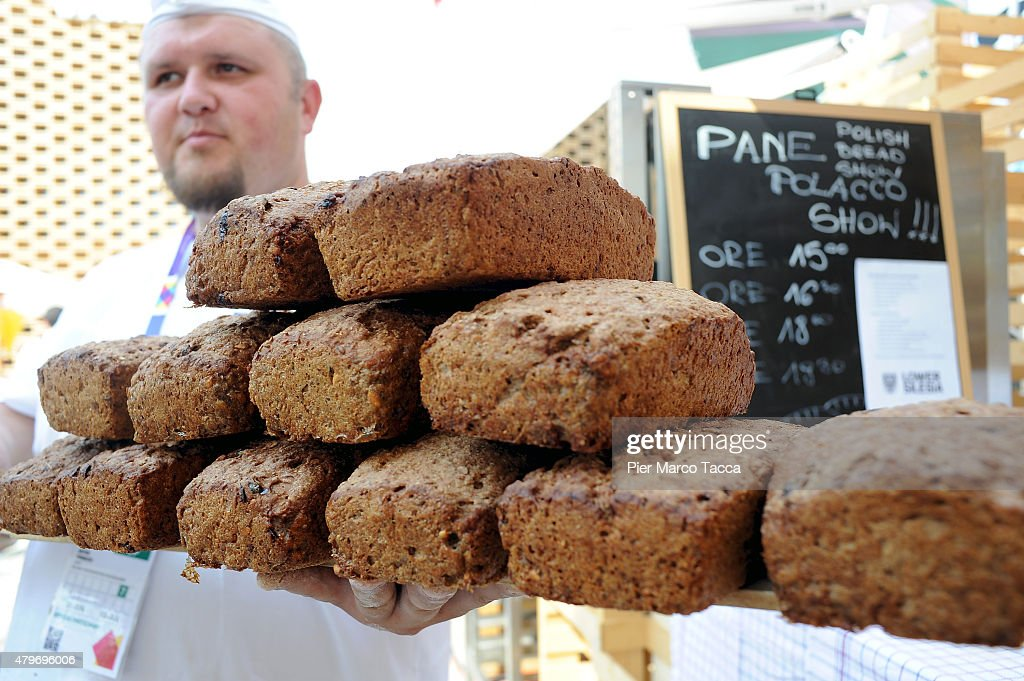 A moment of preparation of the Polish bread (during the preparation is added, cinnamon, walnuts, flax seeds, fruits etc.) at the Polish pavilion during the Expo 2015 on July 6, 2015 in Milan, Italy.