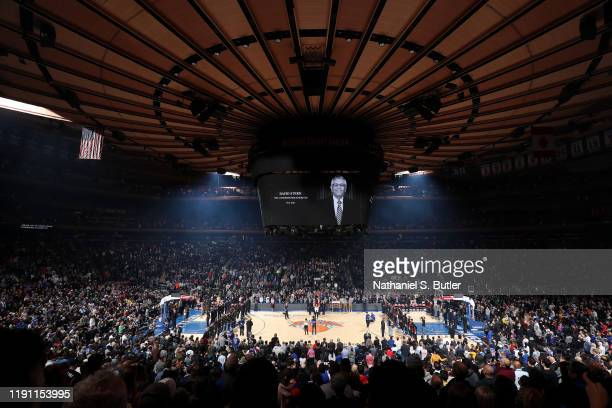 Moment of silence for David Stern before the game between the New York Knicks and Portland Trail Blazers on January 1, 2020 at Madison Square Garden...