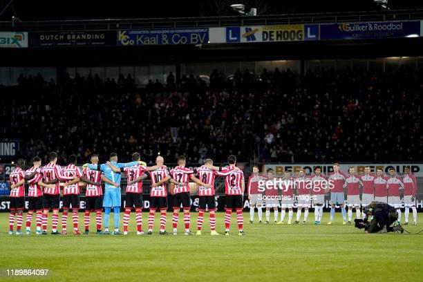 moment of silence for Jules Deelder during the Dutch Eredivisie match between Sparta v AZ Alkmaar at the Sparta Stadium Het Kasteel on December 21...