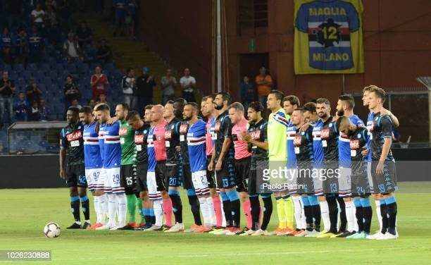 Moment of silence for the two team before the serie A match between UC Sampdoria and SSC Napoli at Stadio Luigi Ferraris on September 2 2018 in Genoa...