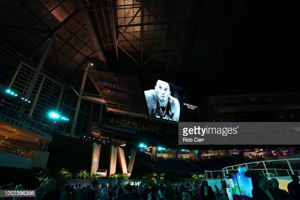 A moment of silence in memory of NBA great Kobe Bryant takes place during Super Bowl Opening Night presented by BOLT24 at Marlins Park on January 27...