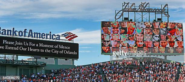 Moment of silence in memory of the people murdered in the Orlando terrorist attack is held before a game between the Boston Red Sox and the Baltimore...