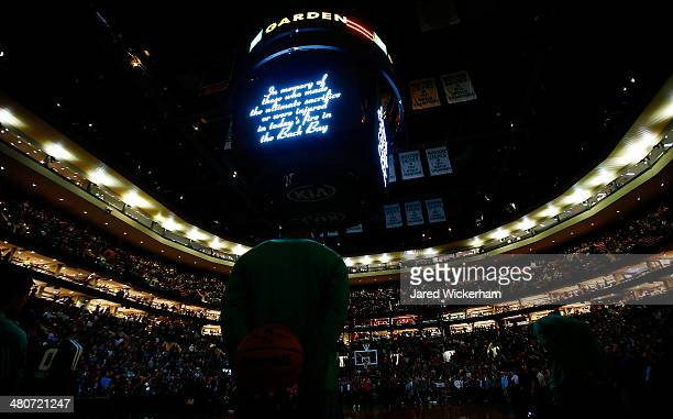 A moment of silence is had prior to the game between the Boston Celtics and the Toronto Raptors in memory of the firefighters whose lives were lost...