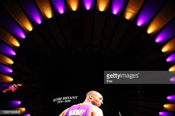 A moment of silence is held for former Los Angeles Laker great Kobe Bryant before the game between the New York Knicks and the Brooklyn Nets at...