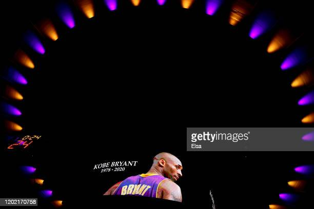 Moment of silence is held for former Los Angeles Laker great Kobe Bryant before the game between the New York Knicks and the Brooklyn Nets at Madison...