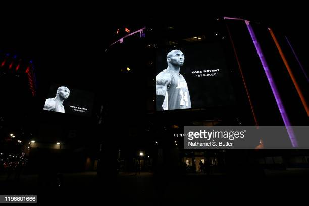Moment of silence is held for NBA Legend, Kobe Bryant before the game between the New York Knicks and the Brooklyn Nets on January 26, 2020 at...