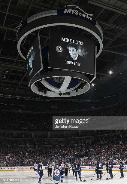 A moment of silence is held for the passing of Detroit Red Wings owner Mike Ilitch prior to NHL action between the Winnipeg Jets and the Tampa Bay...