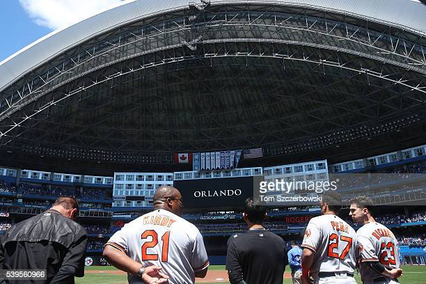 Moment of silence is observed by members of the Baltimore Orioles and fans for the victims of the terrorist attacks in Orlando before the start of...