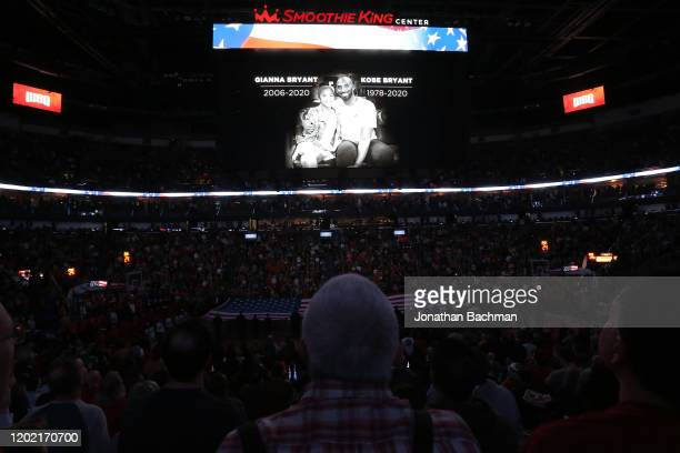 Moment of silence is observed for former player Kobe Bryant before a game between the New Orleans Pelicans and the Boston Celtics at the Smoothie...
