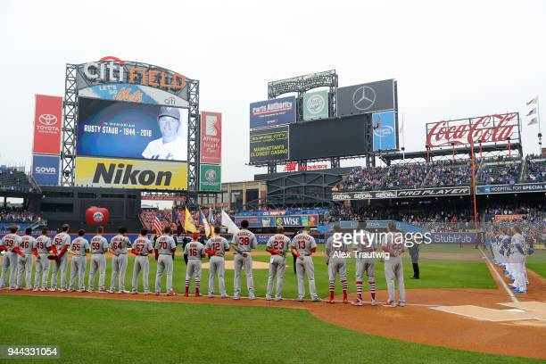 A moment of silence is observed for Rusty Staub prior to the game between the St Louis Cardinals and the New York Mets at Citi Field on Thursday...