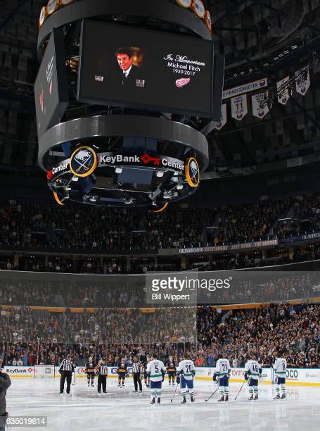 A moment of silence is observed for the passing of Detroit Red Wings owner Michael Ilitch prior to the NHL game between the Buffalo Sabres and...