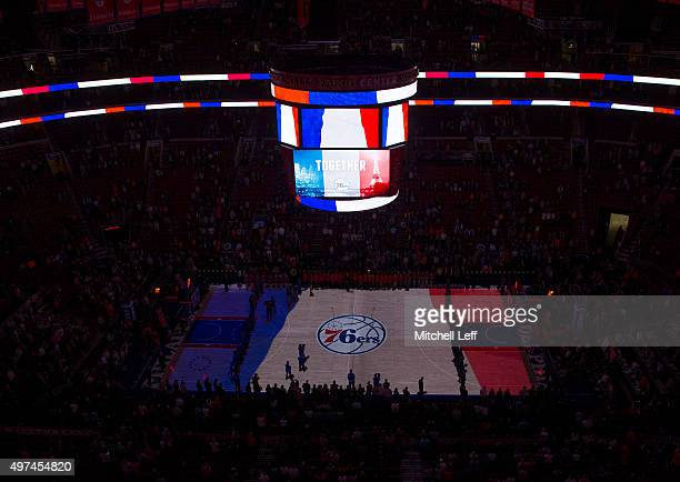 A moment of silence occurred in honor of those who lost their lives in Paris prior to the game between the Dallas Mavericks and Philadelphia 76ers on...