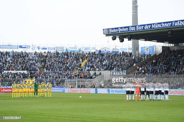 A moment of silence prior to the 3 Liga match between TSV 1860 Muenchen and Eintracht Braunschweig at Stadion an der Gruenwalder Straße on January 26...