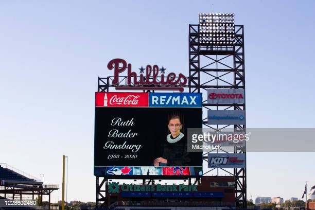 A moment of silence was held for Ruth Bader Ginsburg at Citizens Bank Park prior to the start of the game between the Toronto Blue Jays and...