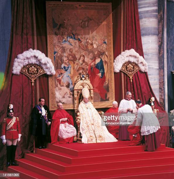 A moment of the crowning ceremony of Pope John XXIII born Angelo Roncalli in the Gregorian Chapel inside Saint Peter's Basilica Vatican City 4th...