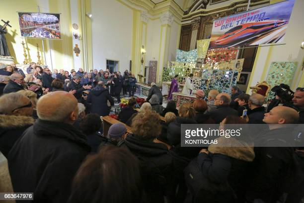 A moment of the funeral director screenwriter and political Pasquale Squitieri at the Church of the Virgin in the popular district Sanità
